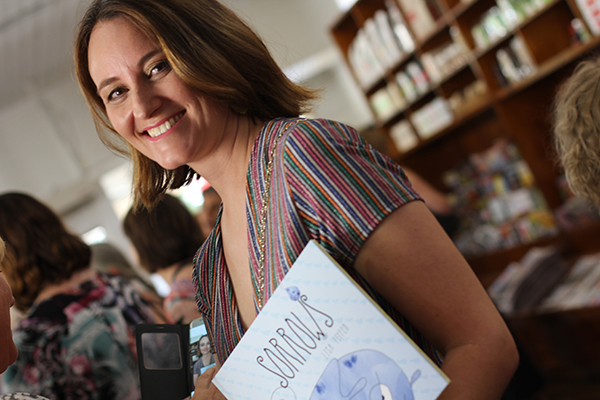 Lisa Tiffen at the launch of her third children's picture book, Sorrows