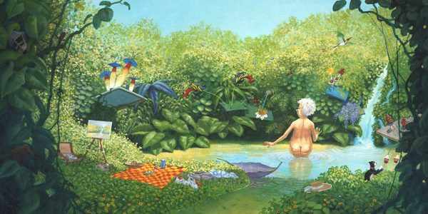 Oil painting of Mrs Millie bathing in a pond. Painted by artist Matt Ottley