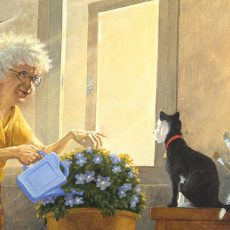 Mrs Millie watering her flowers while Socrates her cat watches on.