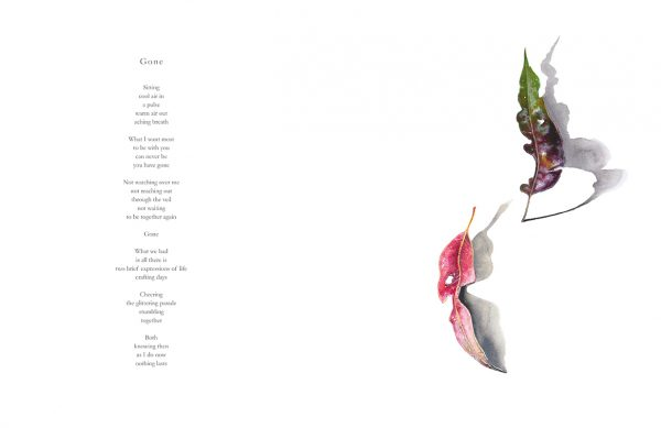 Gone: Poem by Nicholas Bennett with illustration of leaves by artist Tina Wilson